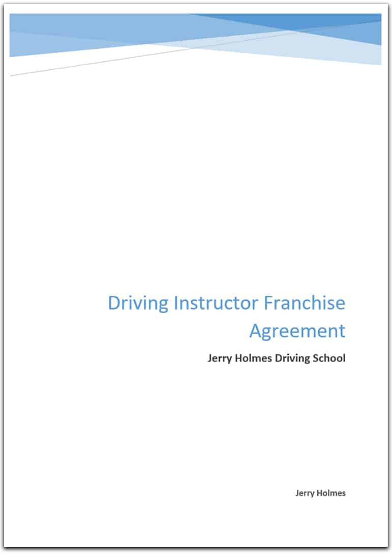 driving instructor franchise agreement